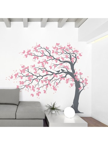 "Ambiance Wandsticker ""Tree with pink leaves and birds"""