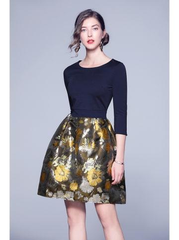 Tina Sukienka w kolorze granatowo-złotym ze wzorem