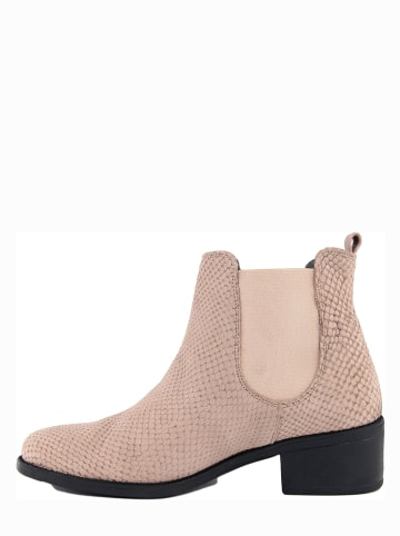 ROBERTO CARRIOLI Leder-Chelsea-Boots in Beige