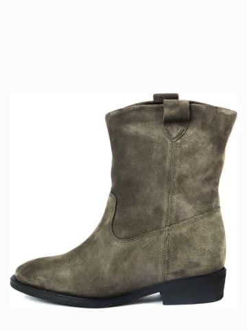 ROBERTO CARRIOLI Leder-Boots in Khaki