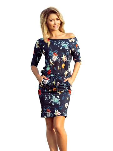 Numoco Sukienka w kolorze granatowym ze wzorem