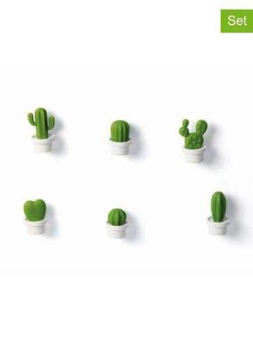 Qualy Design 6-częściowy zestaw magnesów w kolorze biało-zielonym