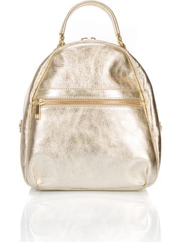 Giulia Massari Skórzany plecak w kolorze złotym - 27 x 34 x 12 cm