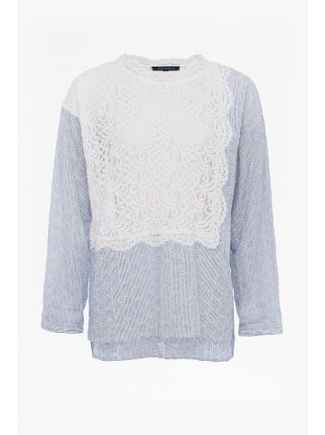 """French Connection Blouse """"Oni"""" lichtblauw/wit"""