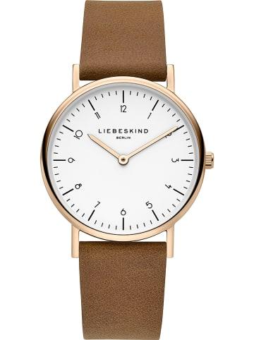 Liebeskind Zegarek kwarcowy w kolorze brązowo-różowozłoto-białym