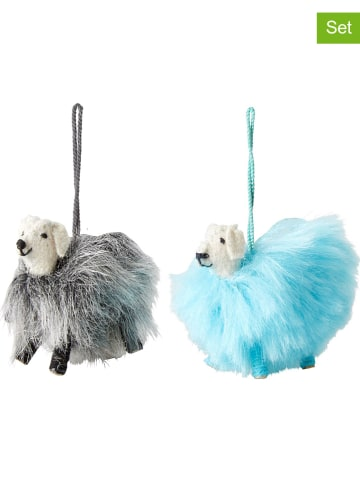 Rice 2-delige set: decoratieve hangers grijs/lichtblauw - (B)9 x (H)10 x (D)3,5 cm