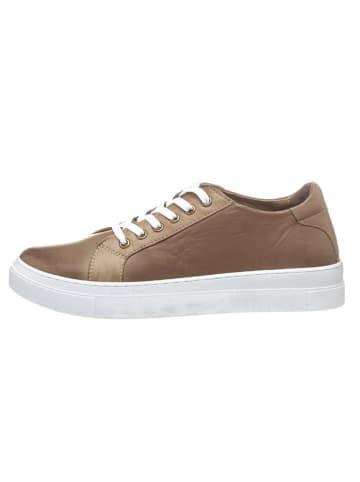Andrea Conti Skórzane sneakersy w kolorze khaki