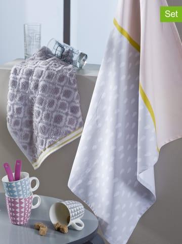 """Calitex 2-delige set: thee- en keukenhanddoek """"Diandra"""" grijs"""