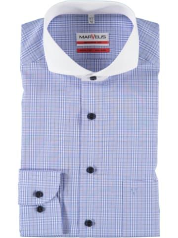 MARVELIS Hemd - Modern fit - in Blau/ Weiß