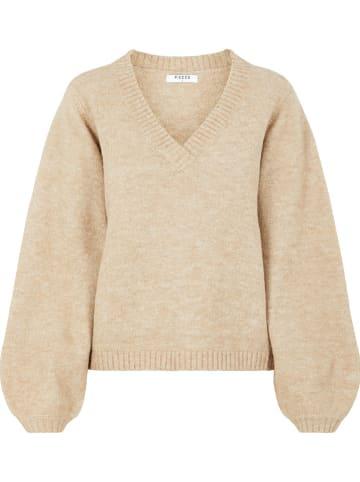 """Pieces Sweter """"Jilla"""" w kolorze beżowym"""