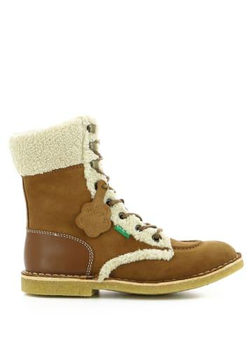 Kickers Skórzane botki zimowe w kolorze brązowym