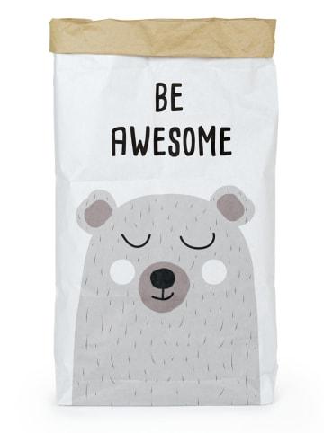 """Tanuki Opbergzak """"Be awesome"""" wit/grijs - (B)60 x (H)90 x (D)13 cm"""