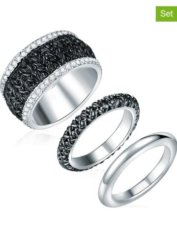 Saint Francis Crystals 3er-Set: Versilb. Ringe mit Swarovski Kristallen