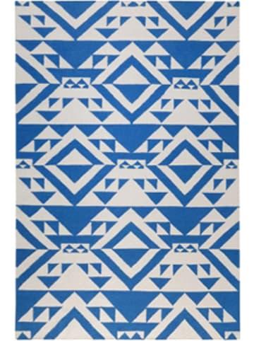 "Accessorize Wollen tapijt ""Mellow"" blauw/wit"