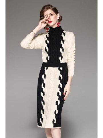 Zeraco Sukienka w kolorze kremowo-czarnym