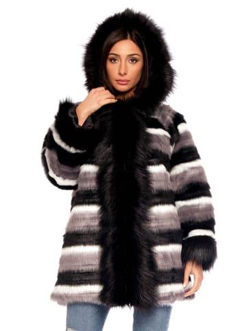 Plus Size Fashion Płaszcz zimowy w kolorze czarno-biało-szarym