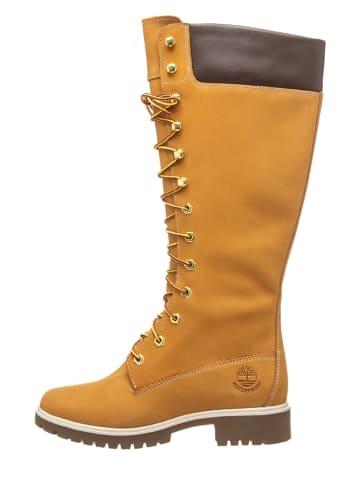 """Timberland Leder-Stiefel """"Premium 14in WP"""" in Hellbraun - Weite W"""