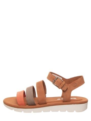 """Timberland Skórzane sandały """"Lottie Lou 3-Band"""" w kolorze jasnobrązowo-koralowo-szarym"""