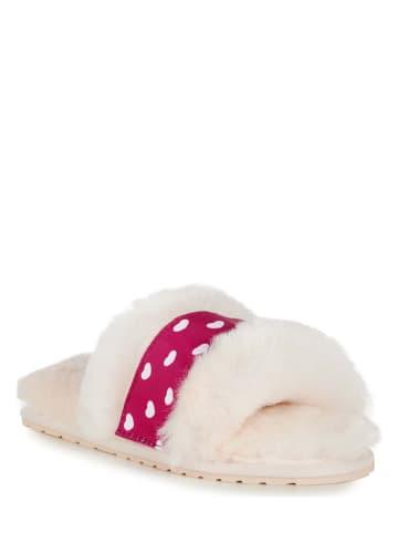 """EMU Lamsvacht pantoffels """"Wrenlette Play Teens"""" crème/paars"""