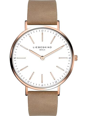 Liebeskind Zegarek kwarcowy w kolorze jasnobrązowo-biało-różowozłotym