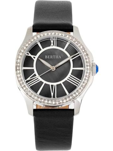 """Bertha Quarzuhr """"Donna"""" in Schwarz/ Silber"""