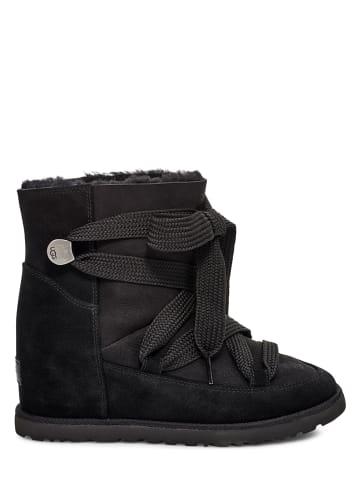 "UGG Lammfell-Winterboots ""Classic Femme Lace-Up"" in Schwarz"