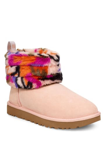 """UGG Leder-Winterboots """"Fluff Mini Quilted Motlee"""" in Rosa"""
