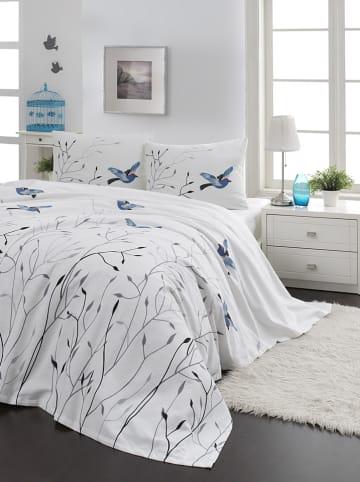 """Colourful Cotton Bedsprei """"Fidella"""" wit/blauw"""