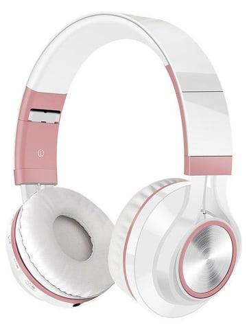SmartCase Słuchawki bezprzewodowe Bluetooth On-Ear w kolorze biało-jasnoróżowym