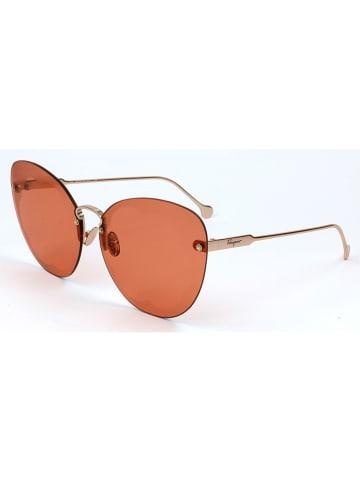 Salvatore Ferragamo Damskie okulary przeciwsłoneczne w kolorze pomarańczowo-złotym