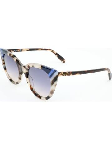 Salvatore Ferragamo Damen-Sonnenbrille in Beige-Blau/ Grau