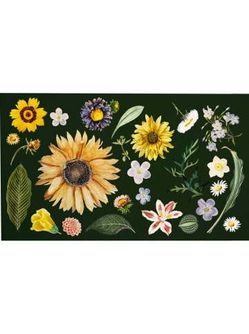 "Madre Selva Fußmatte ""Watercolor Flowers"" in Dunkelgrün/ Bunt - (L)70 x (B)40 cm"