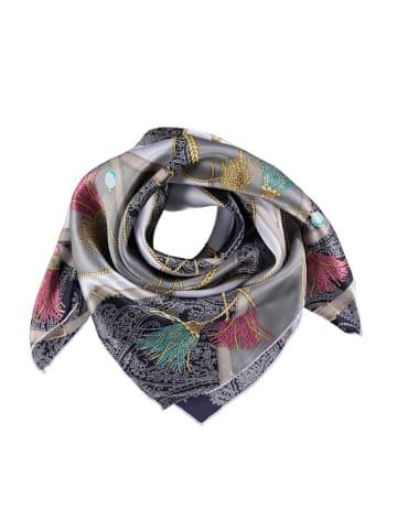 Made in Silk Jedwabna chusta w kolorze szarym ze wzorem - (D)90 x (S)90 cm