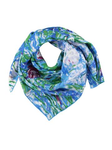 Made in Silk Jedwabna chusta w kolorze niebiesko-zielonym - (D)90 x (S)90 cm