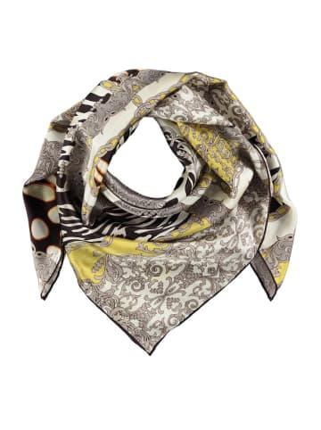 Made in Silk Jedwabna chusta w kolorze szaro-żółtym ze wzorem - (D)90 x (S)90 cm