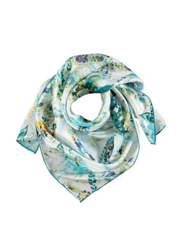 Made in Silk Seiden-Tuch in Weiß/ Blau/ Grün - (L)90 x (B)90 cm