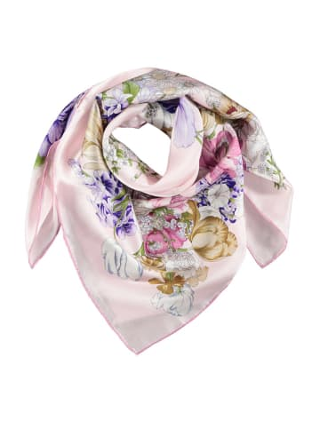 Made in Silk Jedwabna chusta w kolorze jasnoróżowym ze wzorem - (D)90 x (S)90 cm