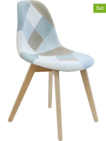THE HOME DECO FACTORY Krzesła (2 szt.) w kolorze błękitno-szarym - 55,5 x 85 x 41 cm
