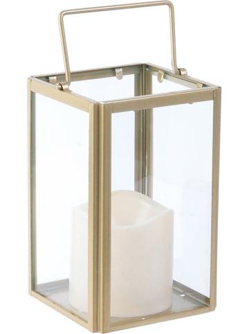 Rétro Chic Lampion LED w kolorze złoto-białym - 10,5 x 17,5 x 10,5 cm