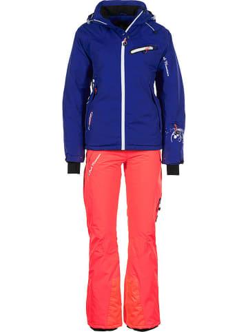 Peak Mountain 2-delige ski-/snowboardoutfit paars/koraalrood