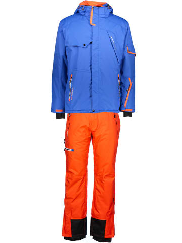 Peak Mountain 2-delige ski-/snowboardoutfit blauw/oranje