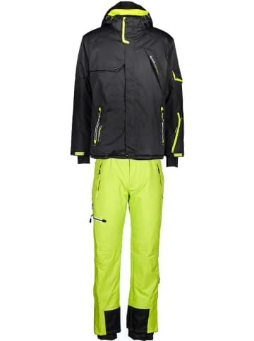 Peak Mountain 2-delige ski-/snowboardoutfit zwart/groen