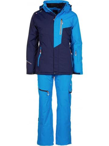 Peak Mountain 2-delige ski-/snowboardoutfit donkerblauw/blauw