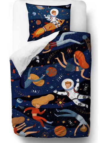 """Mr Little Fox Satijnen beddengoedset """"Space Adventure"""" donkerblauw"""