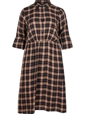 Zizzi Sukienka w kolorze beżowo-czarnym