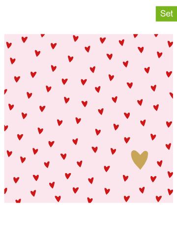 "Ppd 2-delige set: servetten ""Little Hearts"" lichtroze/rood - 2 x 20 stuks"