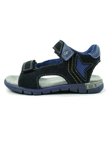 Lamino Skórzane sandały w kolorze granatowym