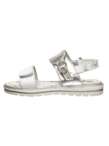 Primigi Skórzane sandały w kolorze srebrnym