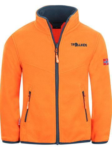 """Trollkids Fleece vest """"Oppdal"""" oranje"""