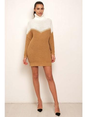 """Victoria Couture Sukienka """"Lidi"""" w kolorze biało-jasnobrązowym"""